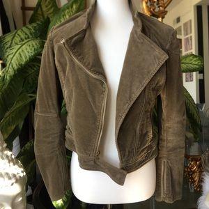 Like new Olive corduroy suede biker jacket BEBE S